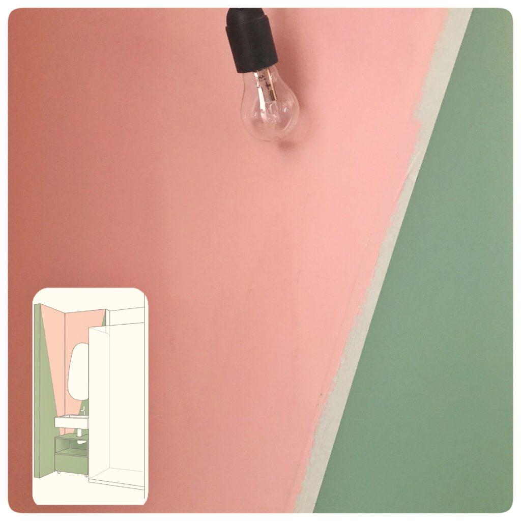 Parete bagno realizzata con pittura decorativa @wilsonmorris
